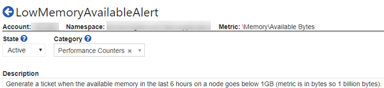 Configuration of a monitor that fires a ticket when the available memory in the last 6 hours on a node goes below 1GB