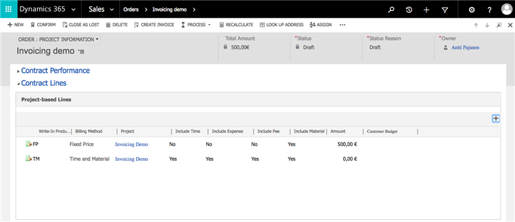 dynamics 365 project service automation invoicing adding invoice